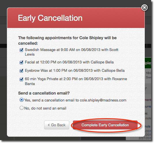 Appointments: Cancelling appointments