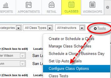 Class & Enrollment Options screen