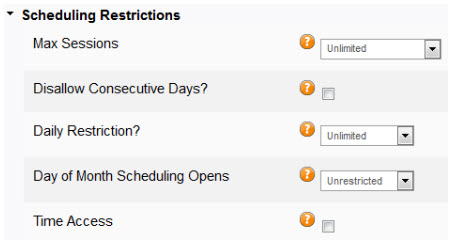 scheduling restrictions for pricing options
