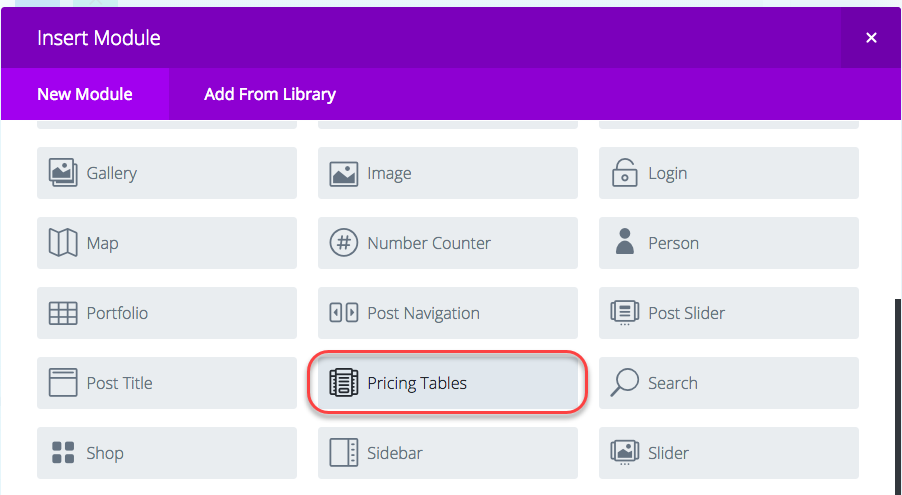 Creating a Pricing Table using Wordpress Divi Builder and