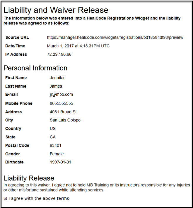 How do I store the RegistrationLiability Waiver form branded – Example of Liability Waiver