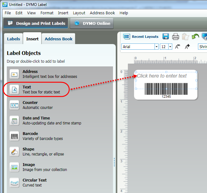Printing a single barcode label using the DYMO Utility software (PC)