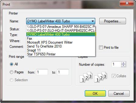 Label Printer - DYMO LABEL WRITER (PC)