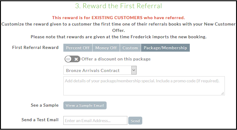 Setting up your referral program - Frederick