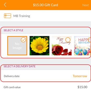 Buying gift cards (MINDBODY app, iOS)