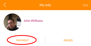 My Info screen (MINDBODY app, iOS)