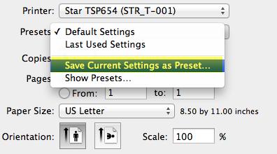 how to change printer preset mac