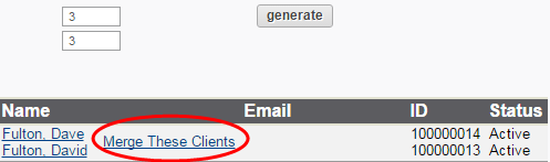 Locate Duplicate Clients tool