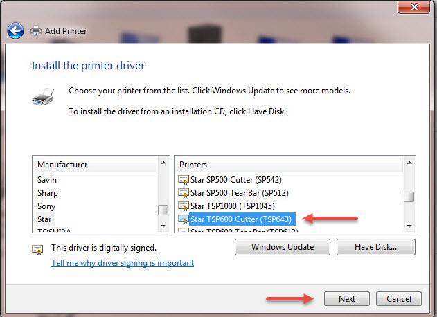 TSP 600 installation for Windows 7